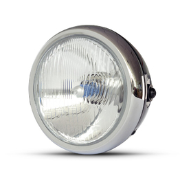 "6.5"" Classic Metal Headlight - Gloss Black / Chrome"