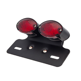 Cat Eye Twin Black LED Tail Light - Red Lens