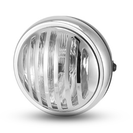 "6.5"" Metal Grill Headlight  - Black/Chrome"