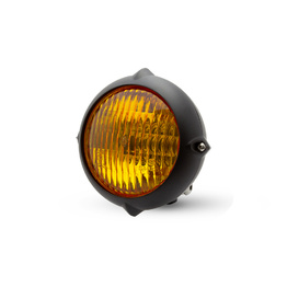 Vintage Bottom Mount LED Headlight with Yellow Lens - Black