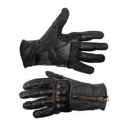 Black Leather Zip Up Gloves