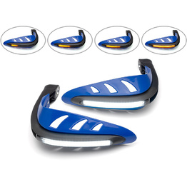 Blue LED Hand Guards with Integrated Daytime Running Lights/Indicators - White/Amber