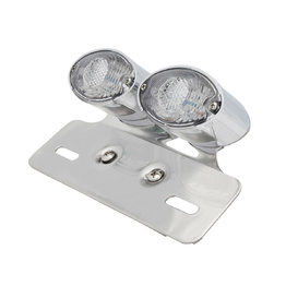 Cat Eye Twin Chrome LED Tail Light with Indicators - Clear Lens