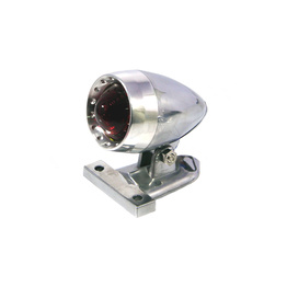 Chrome Aluminium Bullet LED Stop Tail Light - Red Lens