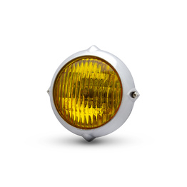 Vintage Bottom Mount LED Headlight with Yellow Lens - Chrome