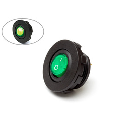 Flush Mount 12V LED On/Off Switch - Green