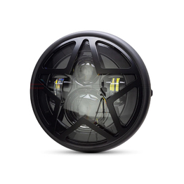 "7.7"" Multi Projector Headlight with Big Star Grill - Matte Black"