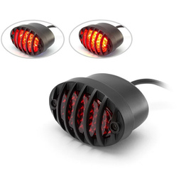Matte Black Metal Prison Grill Oval LED Stop / Tail Light