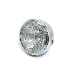 "Mesh Side Mount Motorcycle Headlight - 7.7"" Chrome"