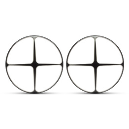 "PAIR 7"" Metal Cross Design Grill - Black Contrast Cut"
