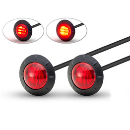 Pair of Round Flush Mount LED Tail Stop Light - Red lens