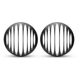 "PAIR 7"" Metal Prison Bar Grill - Black Contrast Cut"