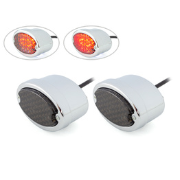 Pair of Chrome Metal Oval LED Stop / Tail Light - Smoked Lens
