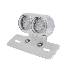 Twin Round Chrome LED Tail Light with Indicators - Clear Lens