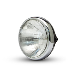 "7.7"" Shorty Metal Headlight - Gloss Black / Chrome"