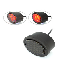 Matte Black Metal Oval LED Stop / Tail Light - Smoked Lens