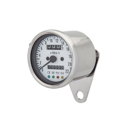 Cafe Racer LED Mini Speedometer - Chrome with White Backing