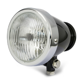 "4.5"" Vintage Bottom Mount Headlight - Black/Chrome"